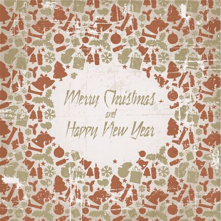 Retro christmas vector card with seasonal pattern - red and golden Vector