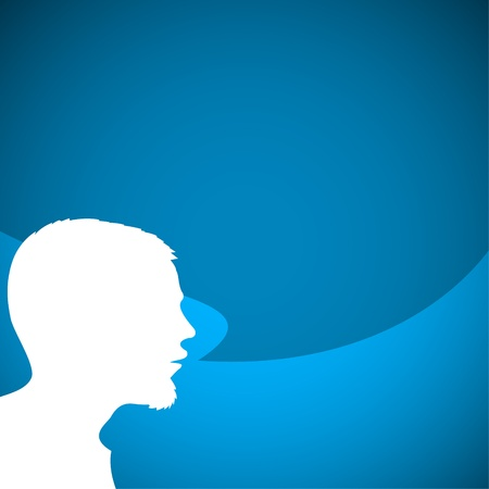 talkative: Abstract speaker silhouette with big blue bubble - place for your content
