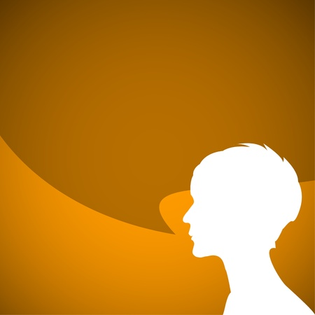 talkative: Abstract speaker silhouette with big orange bubble - place for your content