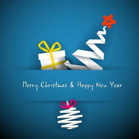 originales: Vector simple tarjeta azul de la Navidad con regalos, �rbol y chucher�a a partir de banda de papel Vectores