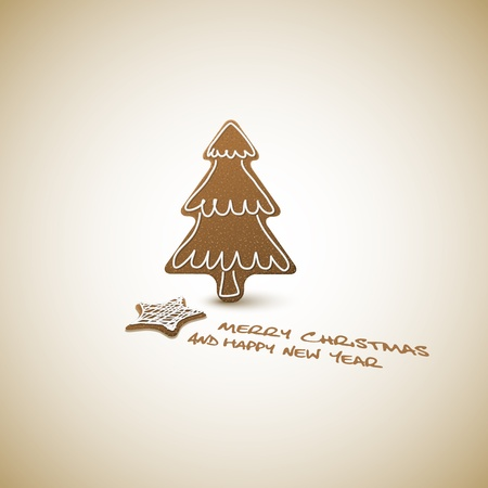 Vector Christmas card - ginger breads with white icing on light background and place for your text  Vector