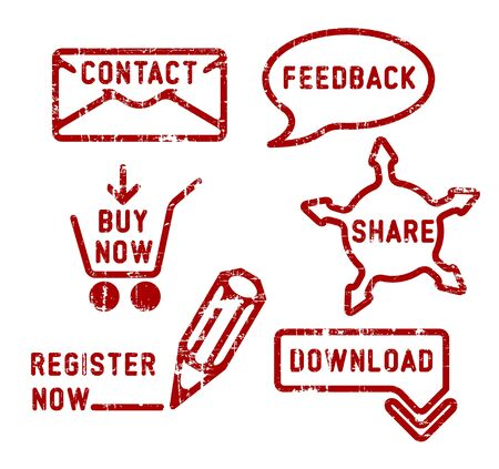 save button: Simple red vector contact, feedback, share, buy, download, register stamps