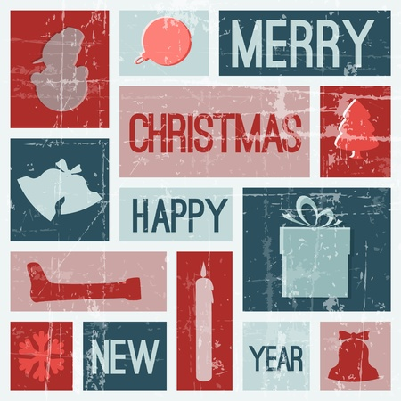 christmas religious: Vector Vintage vector christmas card with various seasonal shapes - blue and red