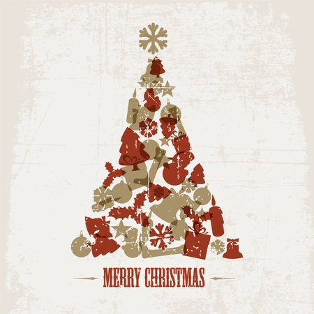 golden religious symbols: Vintage Vector christmas tree made from various shapes (red and golden)