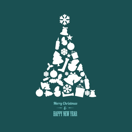 Vector christmas tree made from various shapes (white and teal version) Vector