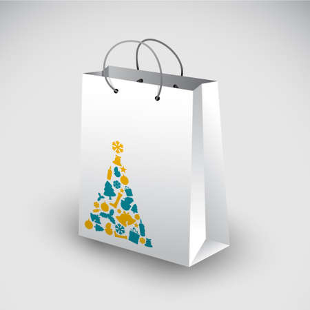 White shopping bag with christmas tree motive Vector