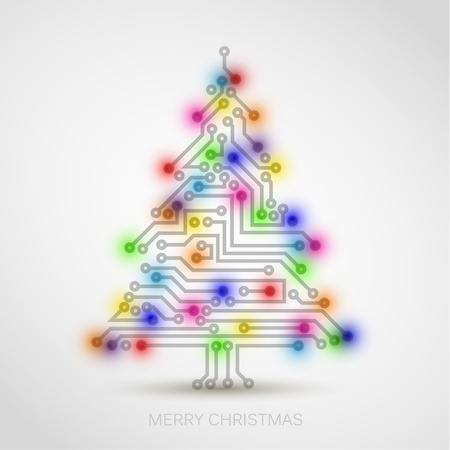 electronic board: Vector christmas tree from digital electronic circuit and colorful lights