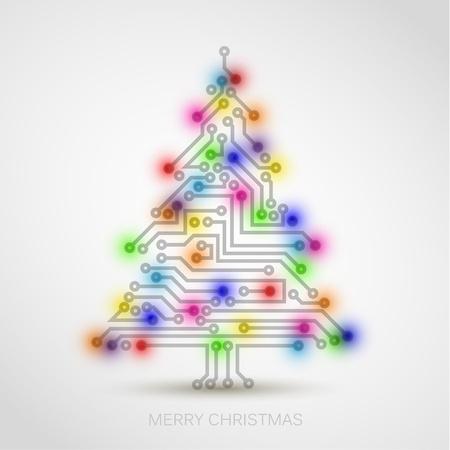 fiestas electronicas: Vector árbol de Navidad de circuitos digitales electrónicos y luces de colores Vectores