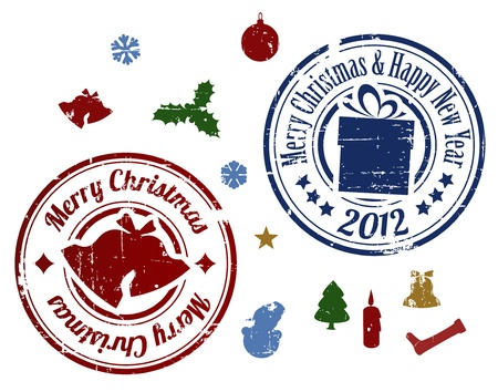 happy new year stamp: Coloridos Grunge Navidad sellos vectoriales sobre fondo blanco Vectores