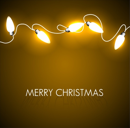 christmas backdrop: Vector Christmas background with golden christmas chain lights