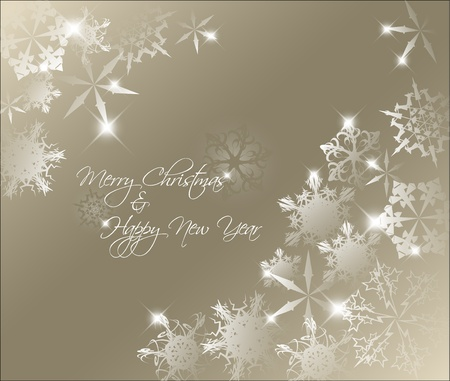 Vector golden abstract Christmas background with white snowflakes Vector