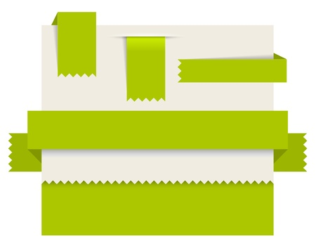 toothed: Green paper tags - Vector ribbons, stripes and bookmars Illustration