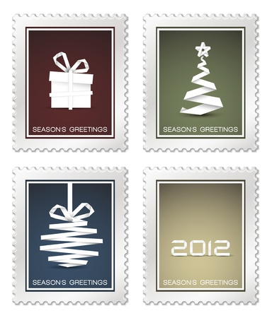 Collection of old vector christmas postage stamps (red, blue, green, yellow) Vector