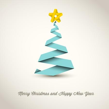 minimalista: Egyszerű vektor karácsonyfa készült papír csík - az eredeti újévi kártya
