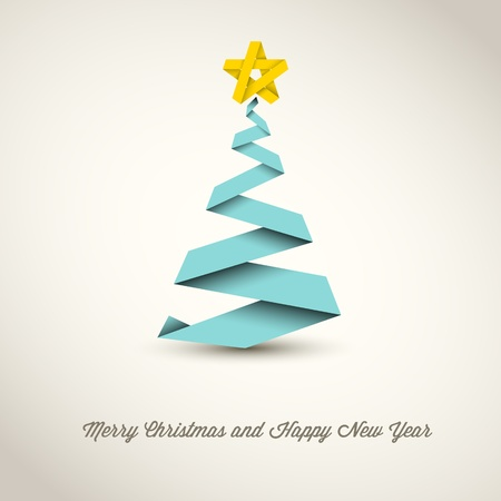 Simple vector christmas tree made from paper stripe - original new year card Vector