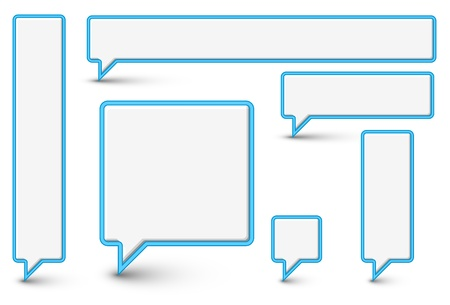 chat box: Set of vector empty plastic Comic Clouds and bubbles with blue border Illustration