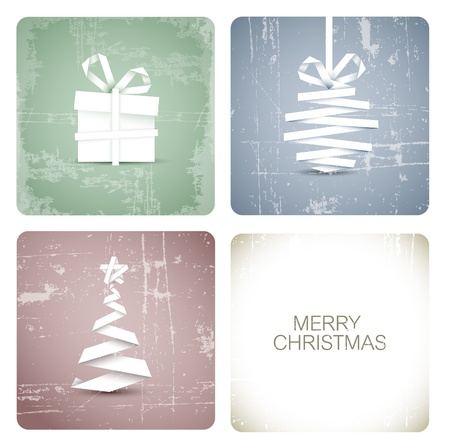 minimalist: Simple vector grunge christmas decoration made from white paper stripe - original new year card