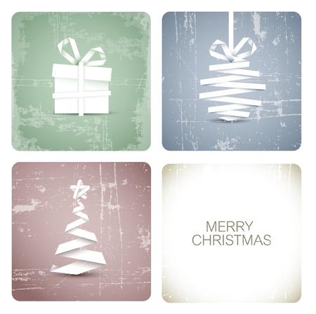 minimal: Vector de grunge simple decoraci�n de Navidad hecha de banda papel blanco - tarjeta original nuevo a�o