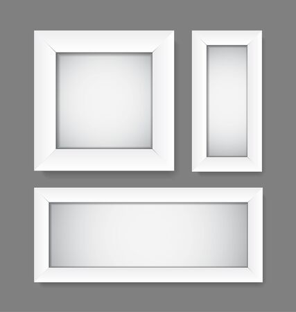 mirror image: Collection of Vector simple empty white frames Illustration
