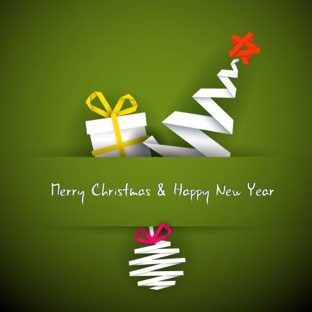 Eenvoudige vector rode kerstkaart met cadeau, boom en kerstbal gemaakt van papier streep