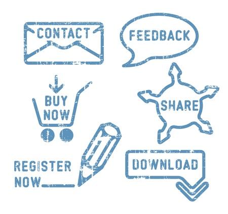 El simple contacto vector azul, la retroalimentación, compartir, comprar, descargar, registrar sellos Ilustración de vector