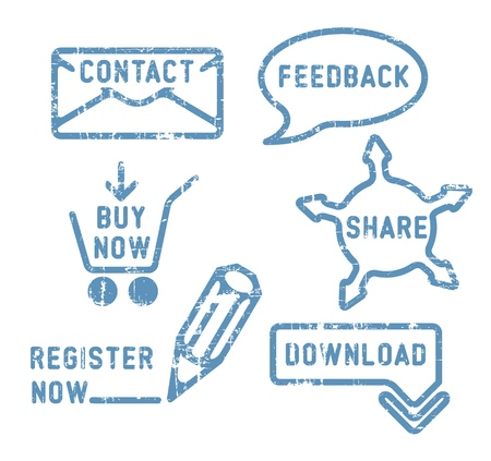 social actions: Simple blue vector contact, feedback, share, buy, download, register stamps