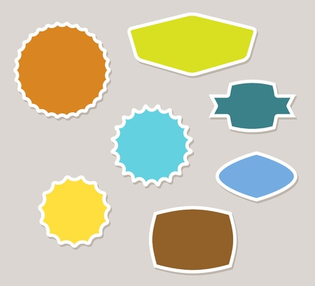 Set of vector labels badges and stickers with retro colors Vector