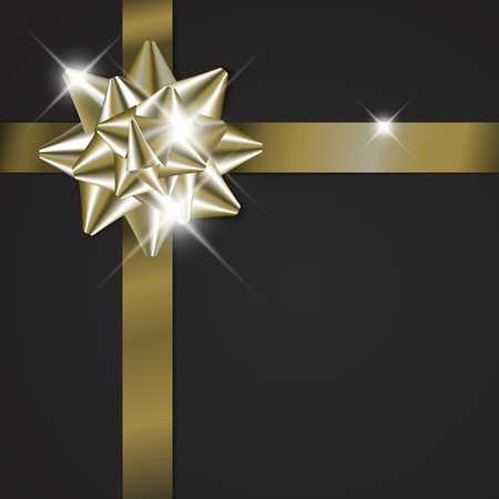 Golden bow on a ribbon with black background - vector Christmas card (no text)