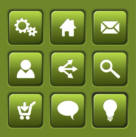 home button: Set of green vector web square buttons (home, share, users, email, ...)