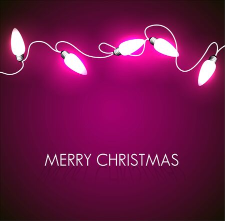 Vector Christmas background with white christmas chain lights on purple Vector