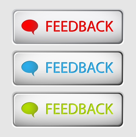 feedback: Set of three vector feedback buttons Illustration