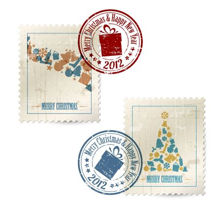 christmas mail: Collection of vector vintage postage stamps with postmarks