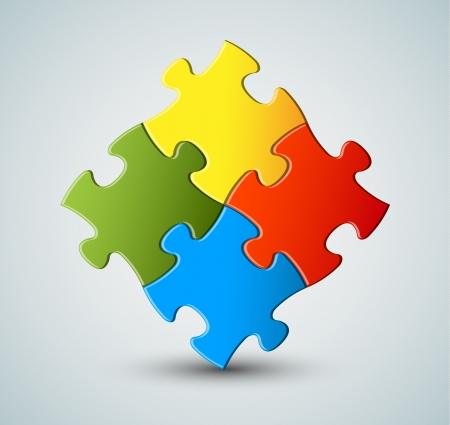 problem solving: Abstract vector puzzle  solution background Illustration