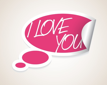 Vector I Love You speech bubble as sticker / label with white border Stock Vector - 11892886
