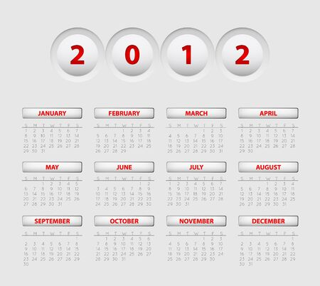 Vector button calendar for the new year 2012 Vector