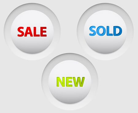Round vector 3D white buttons for big sale, new and sold out items Vector