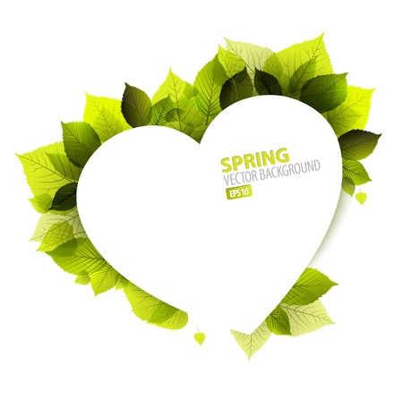 green heart: Spring abstract floral background  (Valentines card) with place for your text