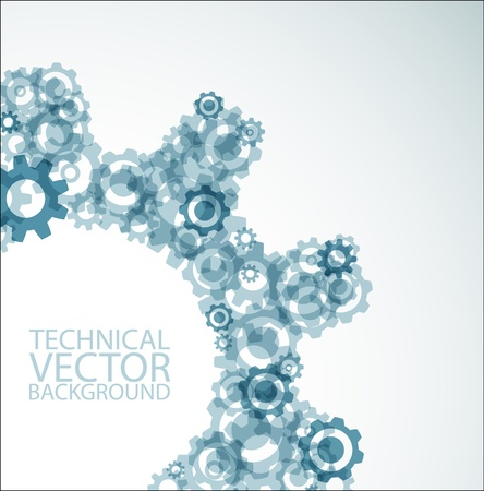 teal background: Vector technical background made from various cogwheels