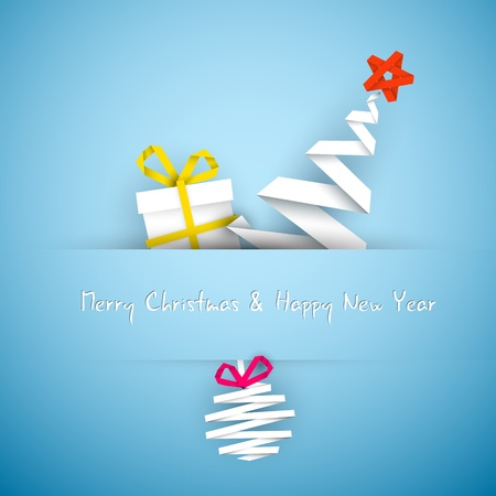 original design: Simple vector blue christmas card with gift, tree and bauble made from paper stripe