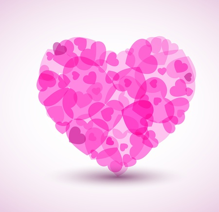 text pink: Vector Big heart made from smaller hearts - Valentines card