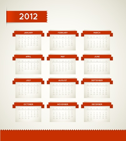 Vector Red Vintage retro calendar Vector
