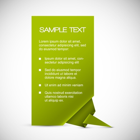 space text: Vector Green Paper card with origami corner
