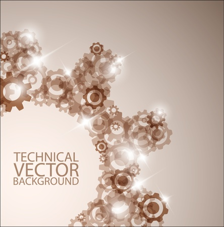 meshed: Vector technical background made from various cogwheels