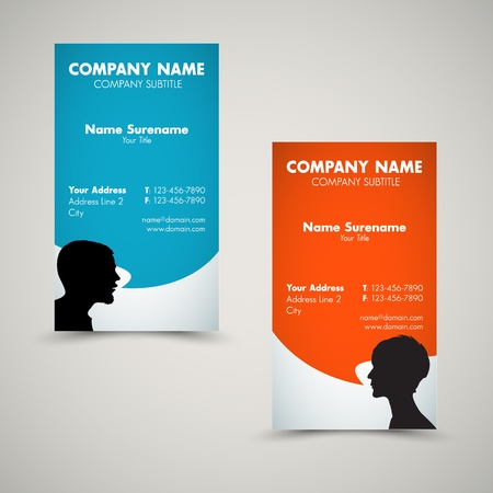 business words: Vector Set of modern business card templates for man and woman Illustration