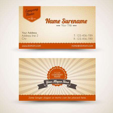 cards: Vector old-style retro vintage business card - both front and back side