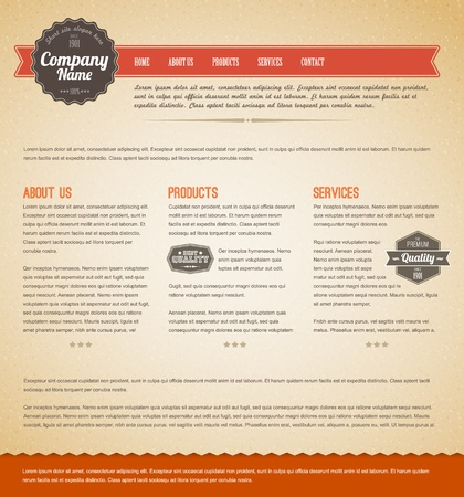 web site backgrounds: Retro vintage grunge web page template - red version Illustration
