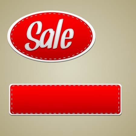 white sticker: Vector Red sale stitched label - oval and rectangle