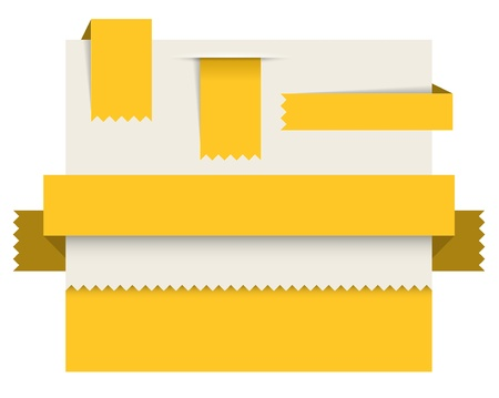 toothed: Yellow paper tags - Vector ribbons, stripes and bookmars