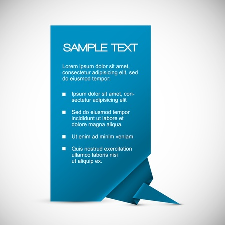 paper origami: Vector Blue Paper card (template) with origami corner