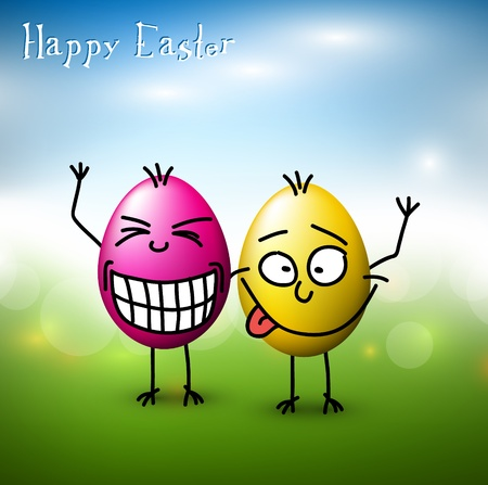 caras felices: Vector divertidos coloridos huevos de Pascua - Feliz Pascua de tarjetas Vectores